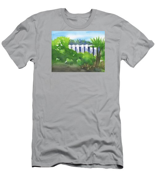 White Fence  Men's T-Shirt (Slim Fit) by Frank Bright