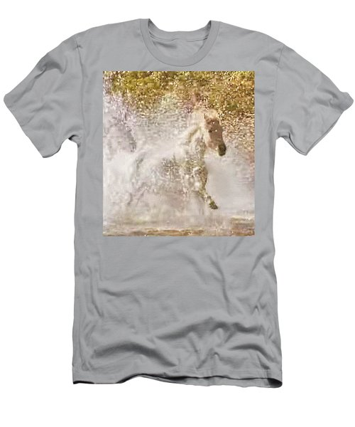 White Wild Horse In Water Men's T-Shirt (Athletic Fit)