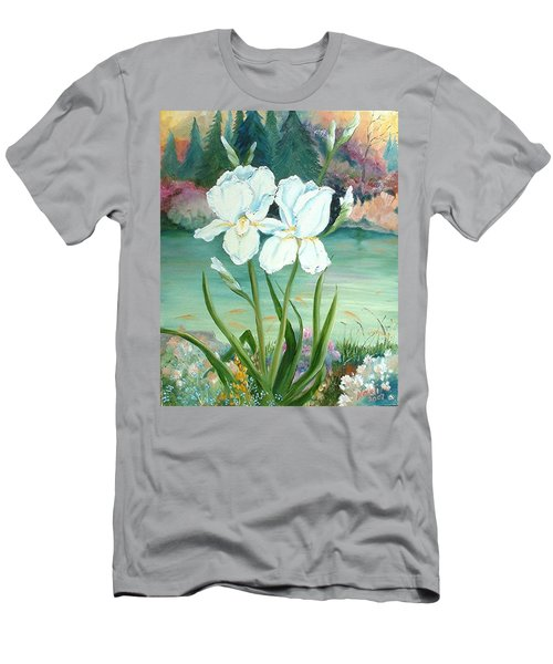 Men's T-Shirt (Slim Fit) featuring the painting White Iris Love by Renate Nadi Wesley