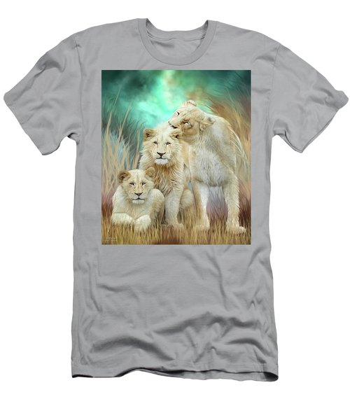 Men's T-Shirt (Athletic Fit) featuring the mixed media White Lion Family - Mothering by Carol Cavalaris