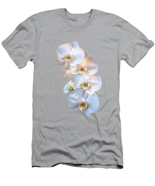 White Orchid Cutout Men's T-Shirt (Slim Fit) by Linda Phelps