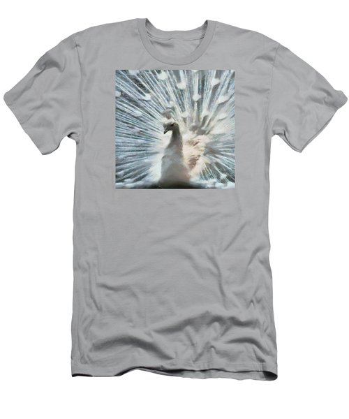 Men's T-Shirt (Slim Fit) featuring the digital art White Peacock by Charmaine Zoe