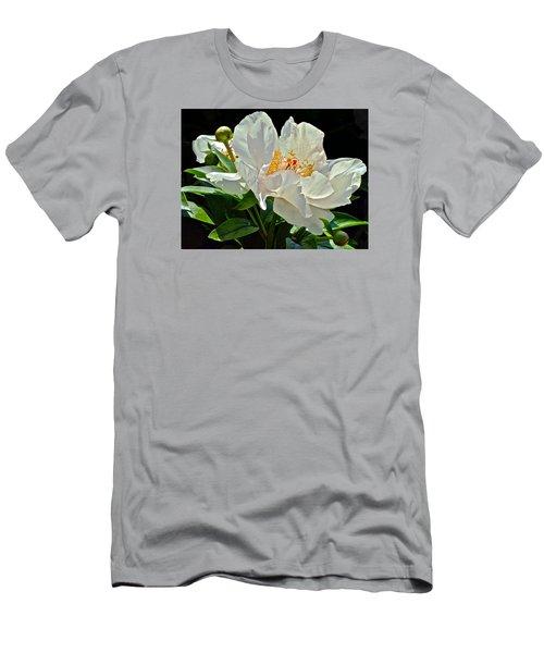 White Peony Men's T-Shirt (Slim Fit) by Janis Nussbaum Senungetuk
