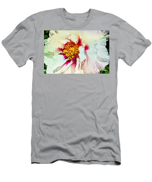 White Peony Men's T-Shirt (Slim Fit) by Joan Reese