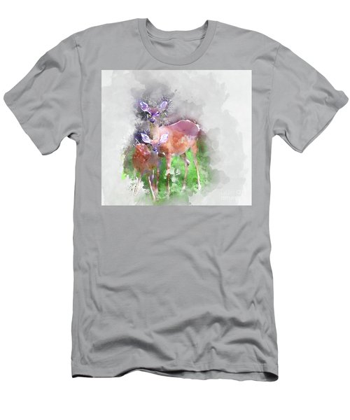 White Tail Deer In Watercolor Men's T-Shirt (Athletic Fit)