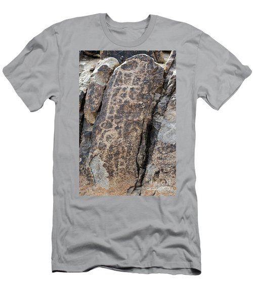 White Tank Petroglyphs #1 Men's T-Shirt (Slim Fit) by Anne Rodkin