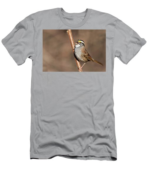 Men's T-Shirt (Slim Fit) featuring the photograph White-throated Sparrow by Mircea Costina Photography