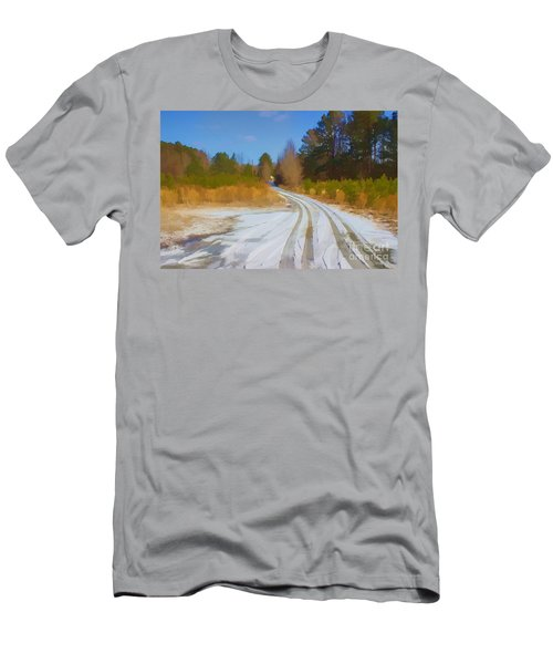 Snow Covered Lane Men's T-Shirt (Athletic Fit)