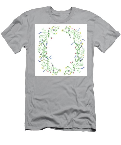 Men's T-Shirt (Athletic Fit) featuring the painting Wild Flowers Wreath Watercolor by Irina Sztukowski