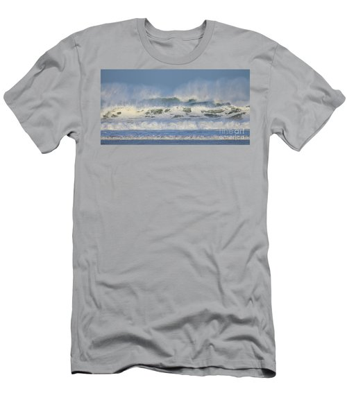 Men's T-Shirt (Slim Fit) featuring the photograph Wind Swept Waves by Nicholas Burningham