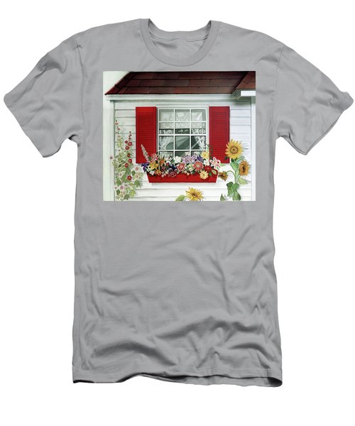 Windowbox With Cat Men's T-Shirt (Slim Fit) by Bonnie Siracusa