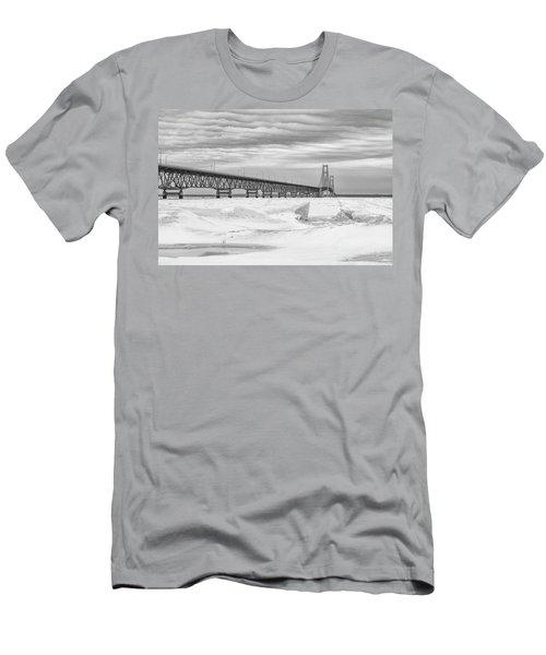 Men's T-Shirt (Slim Fit) featuring the photograph Winter At Mackinac Bridge by John McGraw