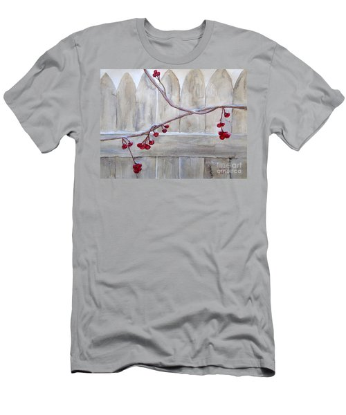 Winter Berries Watercolor Men's T-Shirt (Slim Fit) by Susan Lafleur