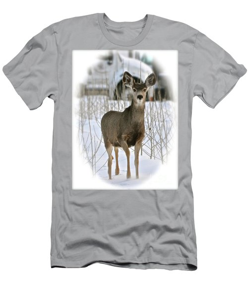 Winter Deer On The Tree Farm Men's T-Shirt (Athletic Fit)