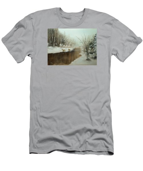 Winter Deer Run Men's T-Shirt (Slim Fit) by Chris Fraser