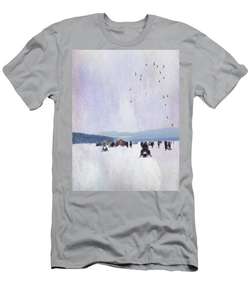 Winter Fun On The Lake Men's T-Shirt (Athletic Fit)