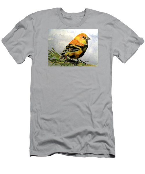 Winter Plumage On Golden Finche Men's T-Shirt (Slim Fit) by Carol Grimes