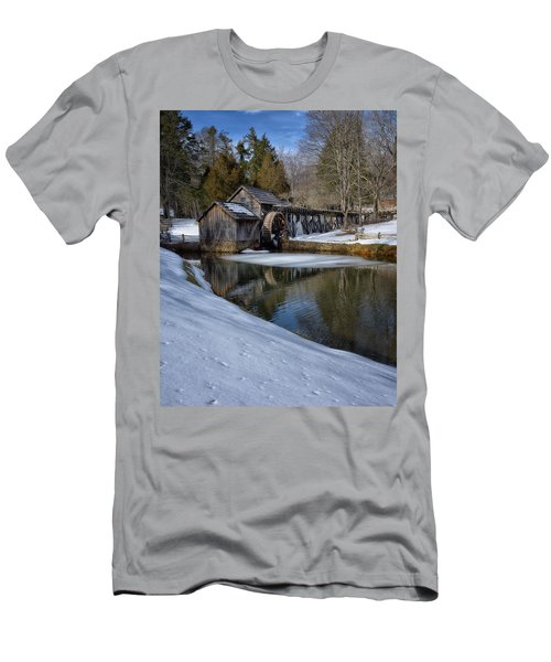 Winter Snow At Mabry Mill Men's T-Shirt (Slim Fit) by Steve Hurt