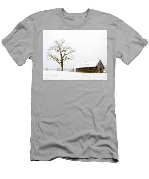 Winter Storm On The Farm Men's T-Shirt (Slim Fit) by George Randy Bass