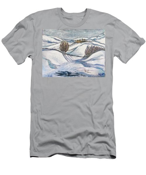 Men's T-Shirt (Slim Fit) featuring the painting Winter Tranquility by Rae Chichilnitsky