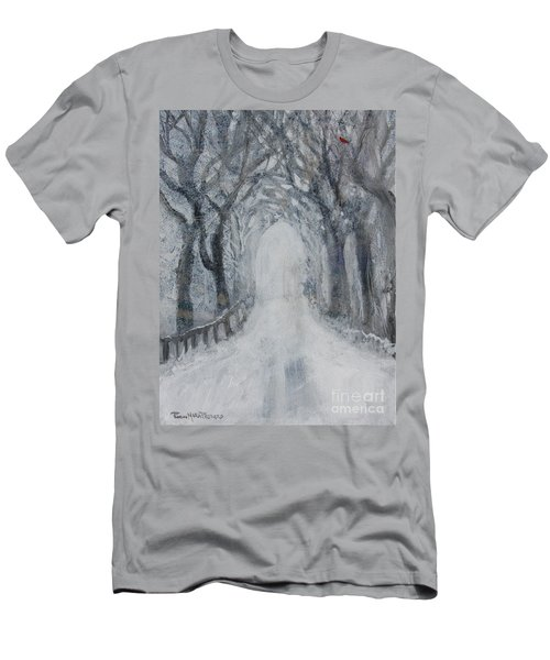 Men's T-Shirt (Athletic Fit) featuring the painting Winter Tree Tunnel by Robin Maria Pedrero