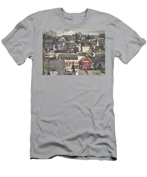 Winter Village With Red House Men's T-Shirt (Athletic Fit)