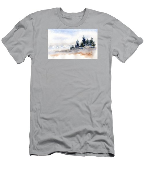 Winter Watercolor Painting Men's T-Shirt (Athletic Fit)