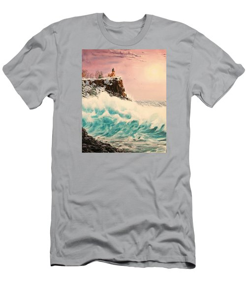 Wintery Northern Lighthouse  Men's T-Shirt (Athletic Fit)