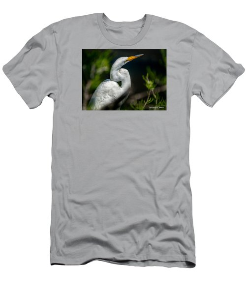 Men's T-Shirt (Slim Fit) featuring the photograph White Egret 2 by Christopher Holmes