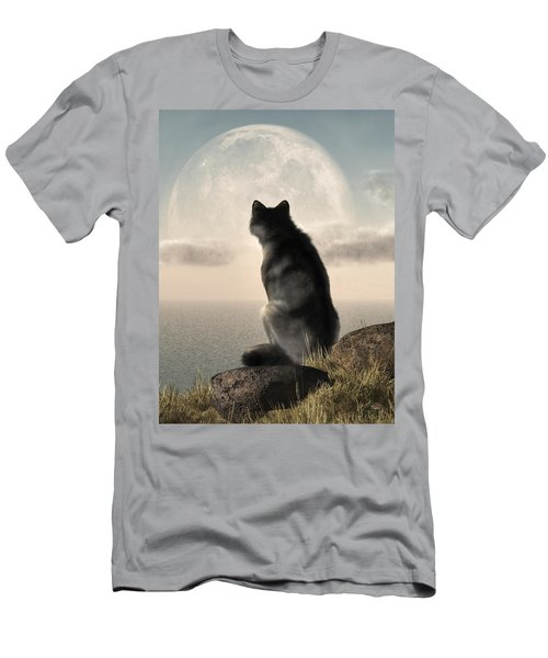 Wolf Watching The Moonrise Men's T-Shirt (Athletic Fit)