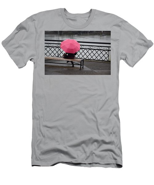 Woman With Pink Umbrella. Men's T-Shirt (Athletic Fit)
