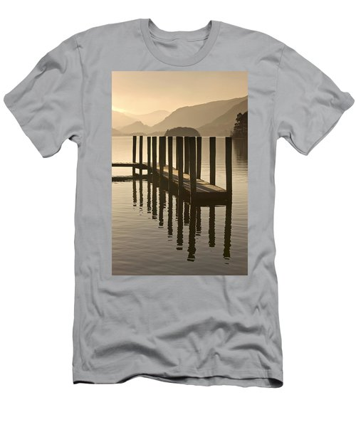 Wooden Dock In The Lake At Sunset Men's T-Shirt (Athletic Fit)