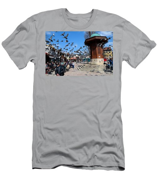 Wooden Ottoman Sebilj Water Fountain In Sarajevo Bascarsija Bosnia Men's T-Shirt (Athletic Fit)