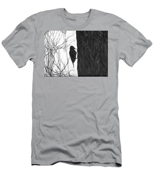 Men's T-Shirt (Slim Fit) featuring the drawing Woodpecker by Anna  Duyunova
