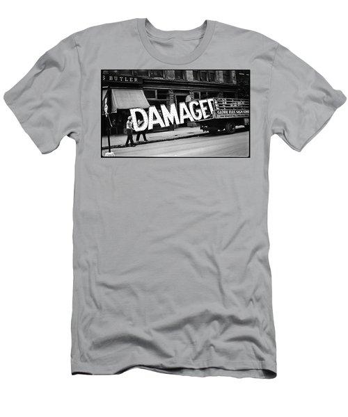 Workmen Hauling Damaged Sign Walker Evans Photo New York City 1930 Color Added 2008 Men's T-Shirt (Athletic Fit)
