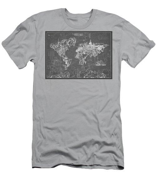 World Map Blueprint 5 Men's T-Shirt (Slim Fit) by Bekim Art