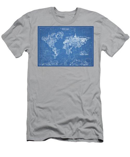 World Map Blueprint Men's T-Shirt (Slim Fit) by Bekim Art