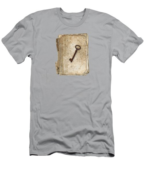 Worn And Tattered Book And Old Rusty Key Men's T-Shirt (Athletic Fit)