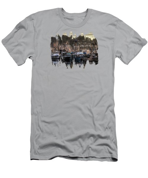 Men's T-Shirt (Slim Fit) featuring the photograph Yaquina Bay Boat Basin At Dawn by Thom Zehrfeld