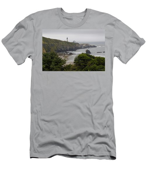 Yaquina Head Lighthouse View Men's T-Shirt (Slim Fit) by Mick Anderson
