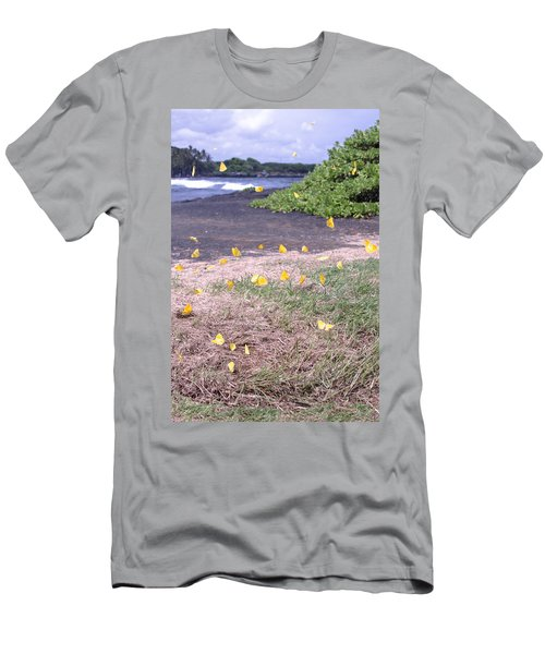 Yellow Butterflies At The Beach Men's T-Shirt (Athletic Fit)
