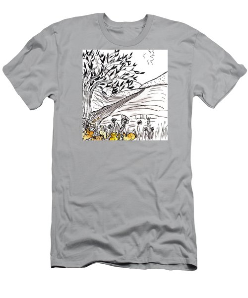 Men's T-Shirt (Slim Fit) featuring the painting Yellow Cats by Lou Belcher