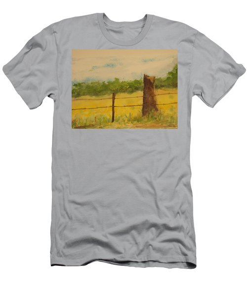 Men's T-Shirt (Slim Fit) featuring the painting Yellow Meadow  by Vicki  Housel