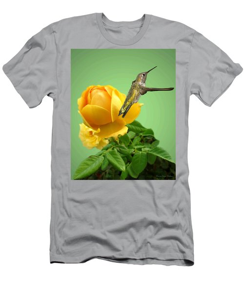 Yellow Rose And Hummingbird 2 Men's T-Shirt (Slim Fit) by Joyce Dickens