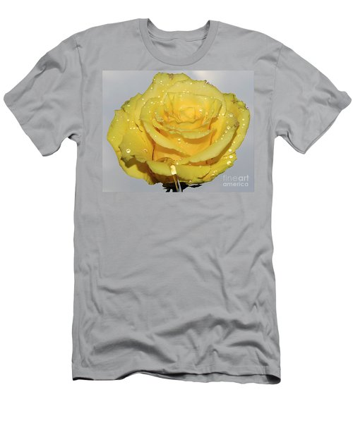 Men's T-Shirt (Slim Fit) featuring the photograph Yellow Rose by Elvira Ladocki