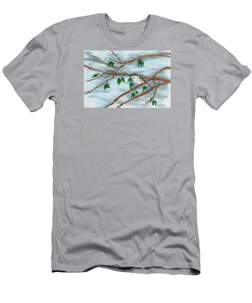 Men's T-Shirt (Slim Fit) featuring the drawing Yellow Rumped Warbler by Terri Mills