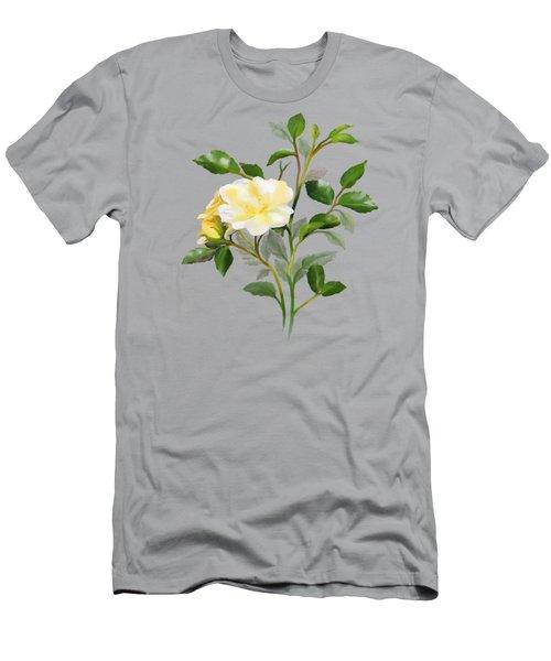 Yellow Watercolor Rose Men's T-Shirt (Athletic Fit)