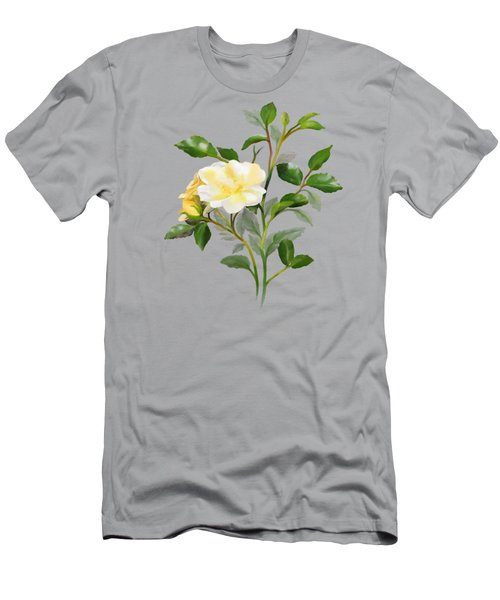 Men's T-Shirt (Athletic Fit) featuring the painting Yellow Watercolor Rose by Ivana Westin