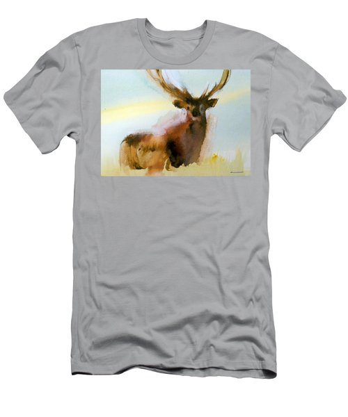 Men's T-Shirt (Slim Fit) featuring the painting Yellowstone  Elk by Ed Heaton