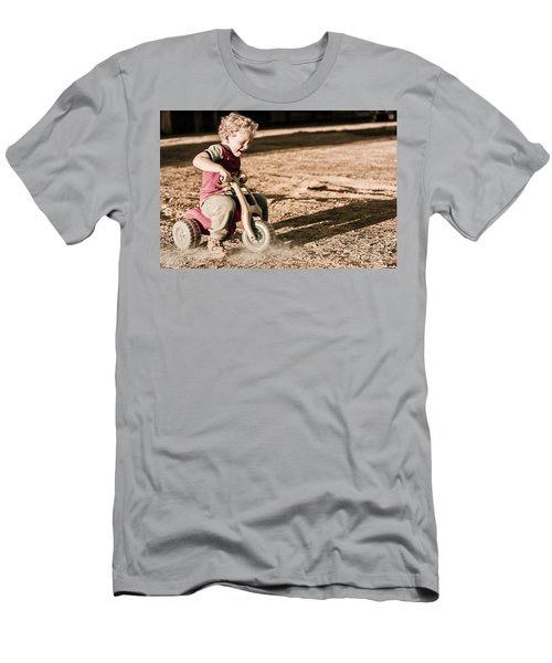 Young Boy Breaking At Fast Pace On Toy Bike Men's T-Shirt (Athletic Fit)